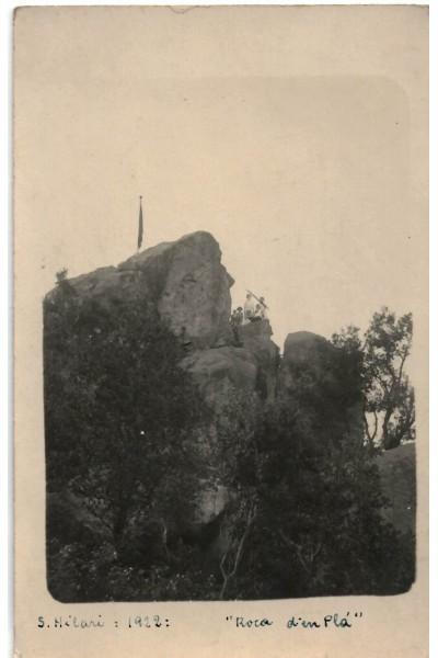 Roca d'en Pla amb senyera, Sant Hilari Sacalm